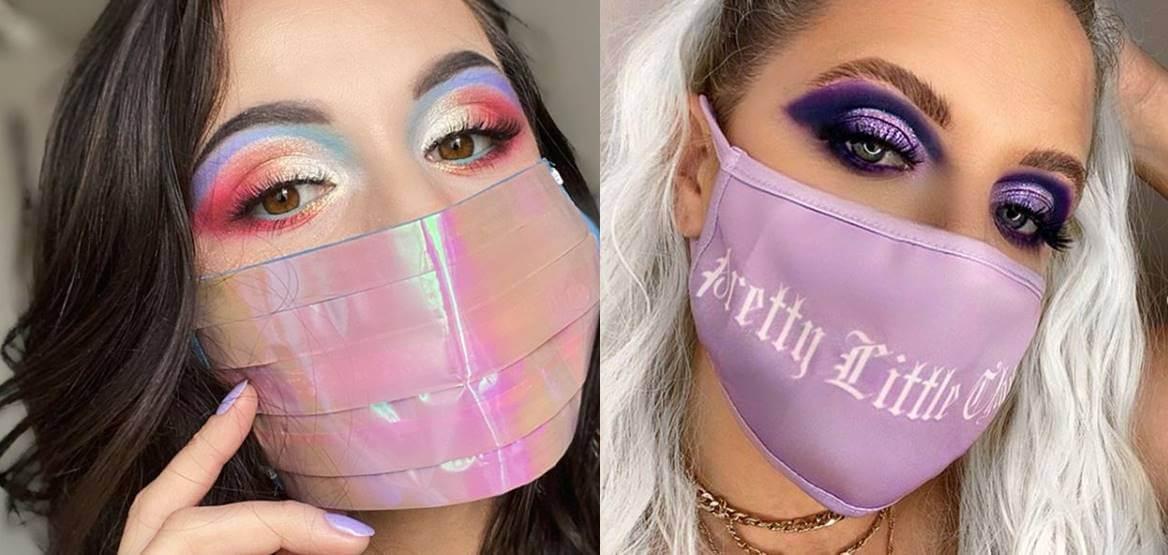 Mosaico de dos fotos: mujeres con mascarilla y maquilladas