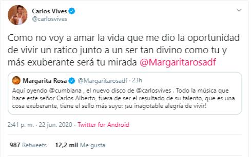 Carlos Vives responde ante los halagos de Margarita Rosa de Francisco afirmando que su mirada es exuberante.