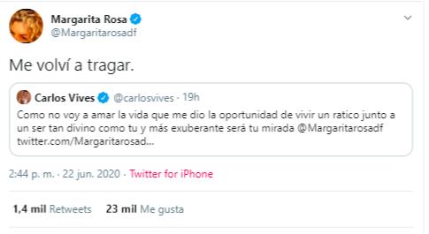"""La actriz respondió finalmente a los halagos de Carlos Vives afirmando que había vuelto a """"tragarse de él""""."""
