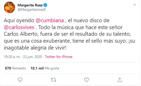 Tweet en el que Margarita Rosa de Francisco halaga a Carlos Vives por su nuevo álbum.