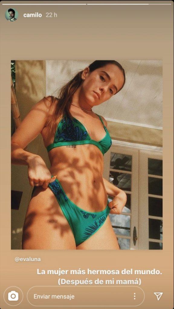 """Historia de Camilo en donde aparece Evaluna en bikini y el mensaje """"La mujer más hermosa del mundo. (Después de mi mamá)"""