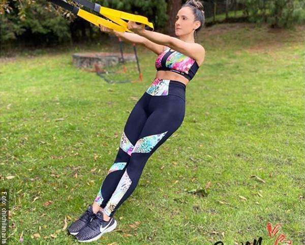 Foto de Cecilia Navia en ropa deportiva