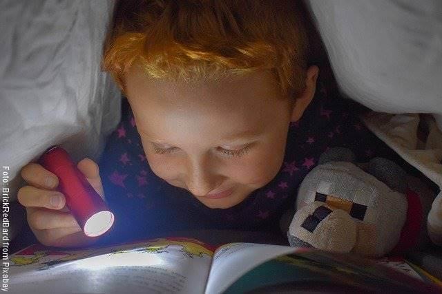 Foto de un niño leyendo dentro de la cama