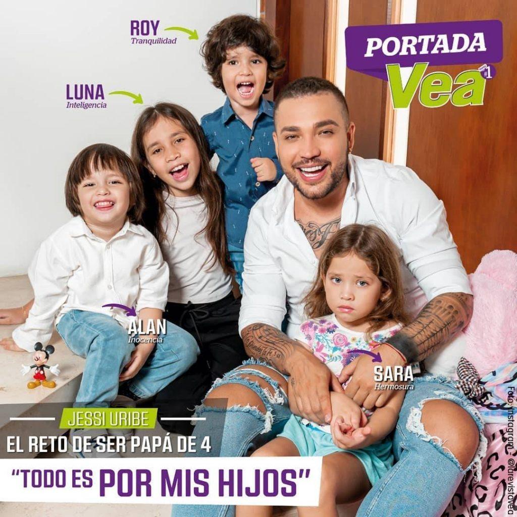 Portada de la Revista Vea con Jessi Uribe y sus hijis