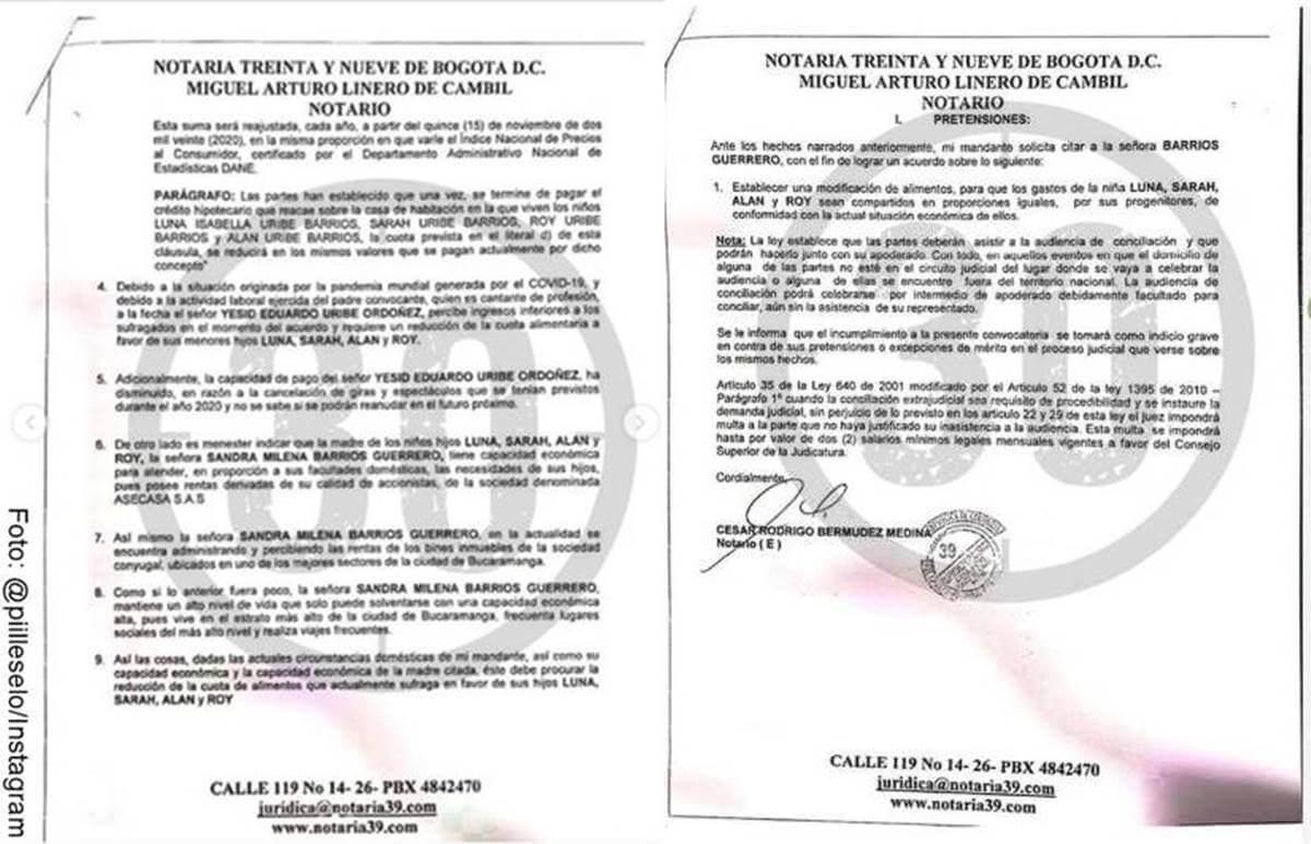 Foto de la solicitud de reducción alimentaria de Yessi Uribe