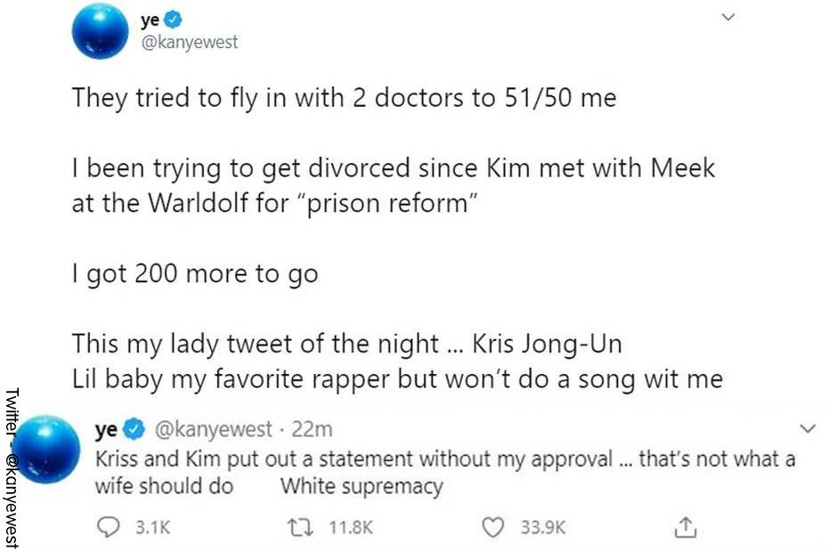 PrintScreen de los tuits hechos por Kanye West sobre Kim Kardashian y Kris Jenner