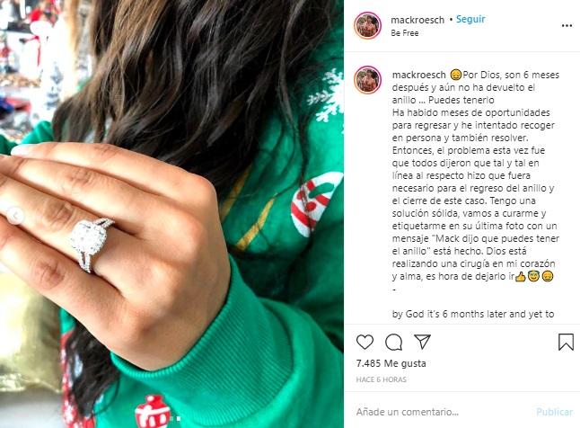 """Publicación en la que el ex de Jessica Cediel le dice a sus seguidores que vayan a comentar las fotos de la presentadora con la frase """"Mack dijo que puedes tener el anillo""""."""