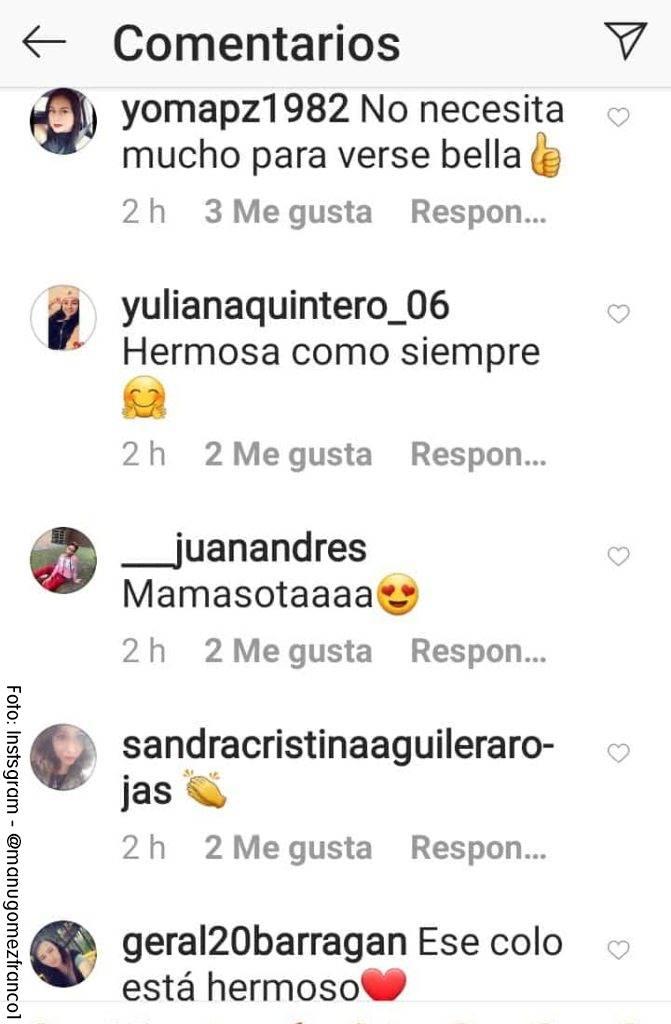 ScreenShot de los comentarios de los seguidores de Manuela Gómez por su cambio de look