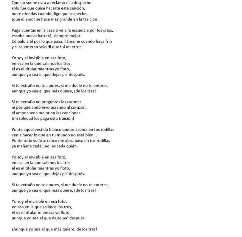 """Imagen de la letra de la nueva canción de Ricardo Arjona llamada """"El Invisible"""""""