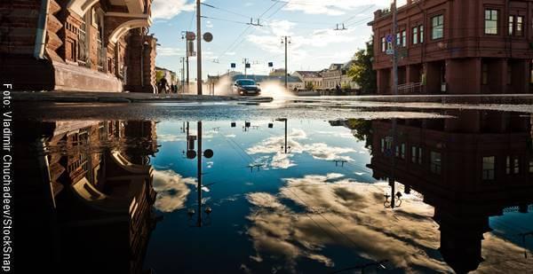 Foto de una inundación en una ciudad