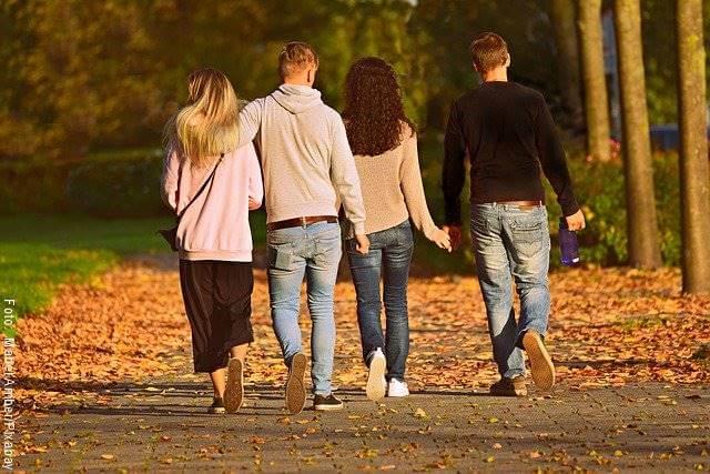 Foto de un par de parejas caminando en un parque