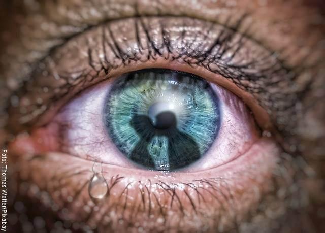 Foto de un ojo en el que se ve el reflejo de una pareja besándose