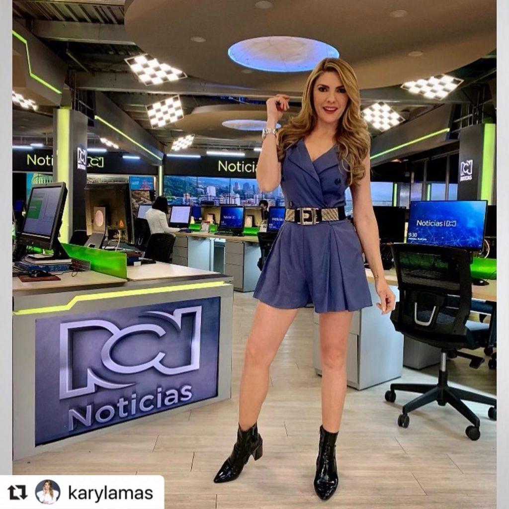 Ana Karina Soto en el set de grabación.
