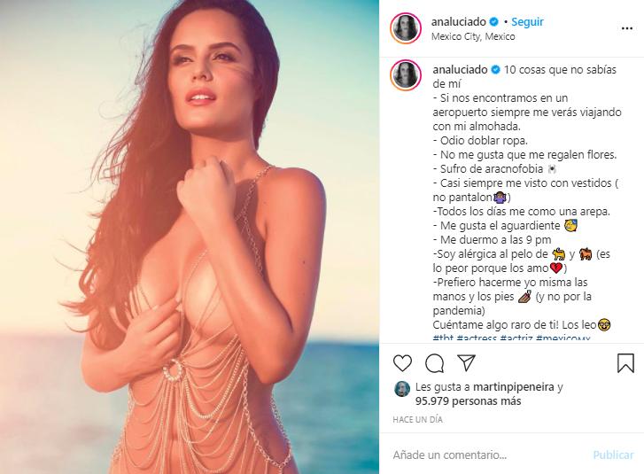 Ana Lucía Domínguez posando completamente desnuda.