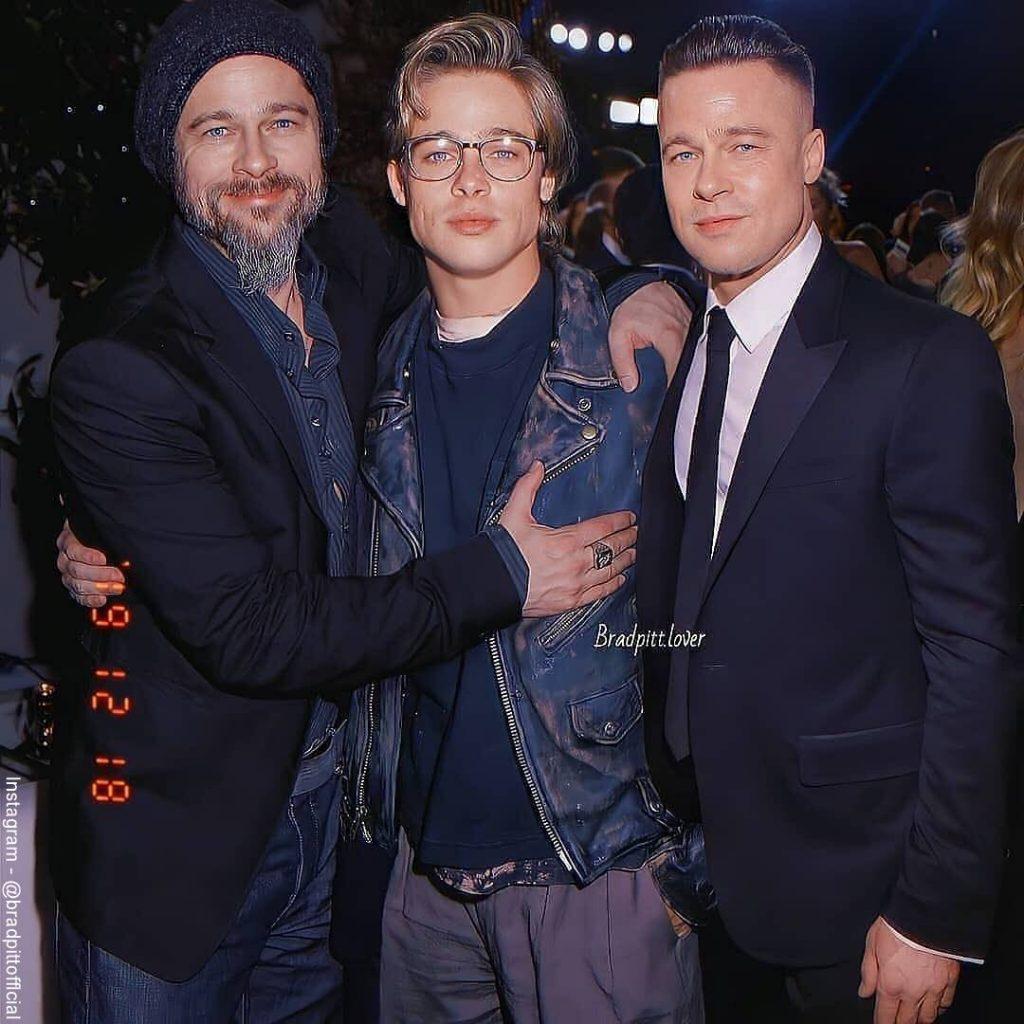 Foto editada de Brad Pitt viejo, joven y adulto con photoshop