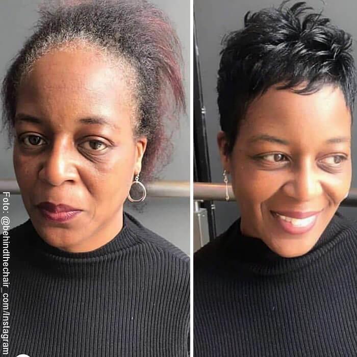 Foto de mujer antes y después de ir a la peluquería