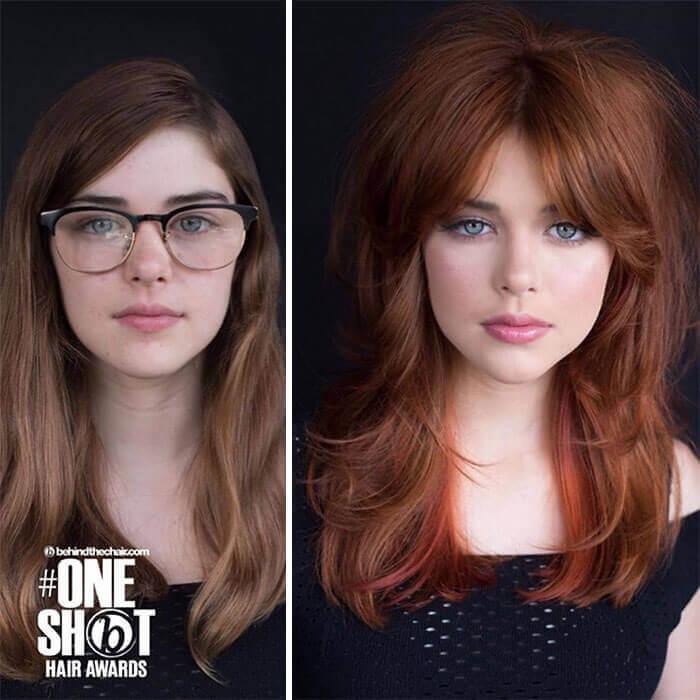 Foto de mujer antes y después para ilustrar cambios de look para mujeres