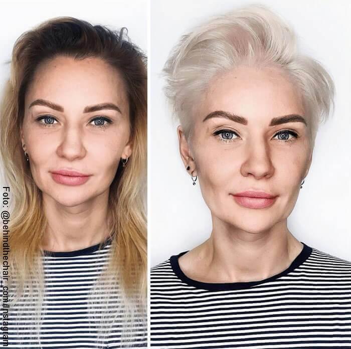 Foto de mujer antes y después de cambio de imagen