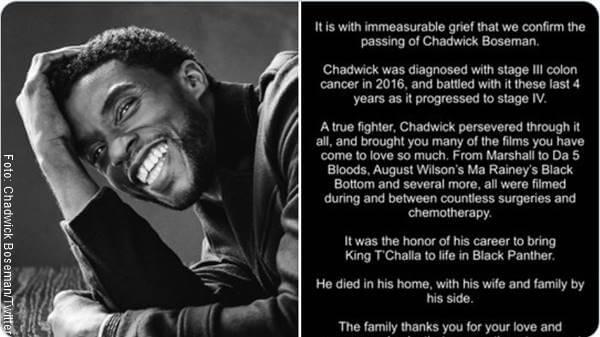Foto de Chadwick Boseman con mensaje de fallecimiento