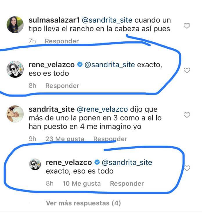 Comentario en redes de René Velazco sobre