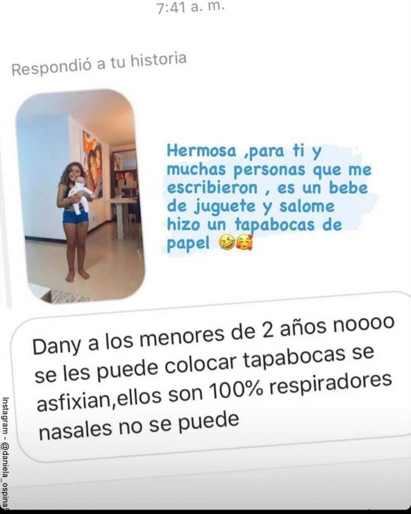 Foto de la respuesta de Daniela Ospina la mujer que criticó en redes a Salomé