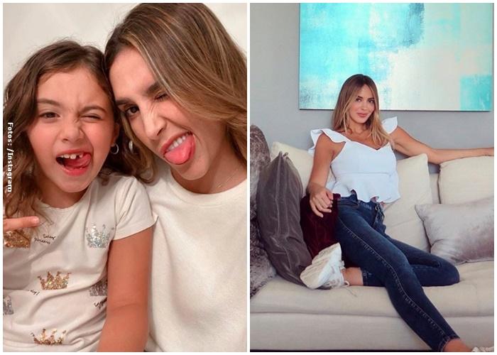 Foto de la izquiera: Daniela Ospina y Salomé. Foto de la derecha: Shannon de lima en un sofá.