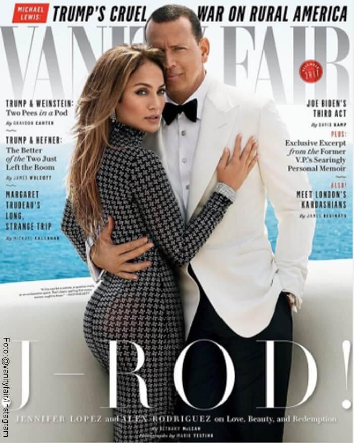 Foto de Jlo y su esposo en la portada de la revista Vaityfair
