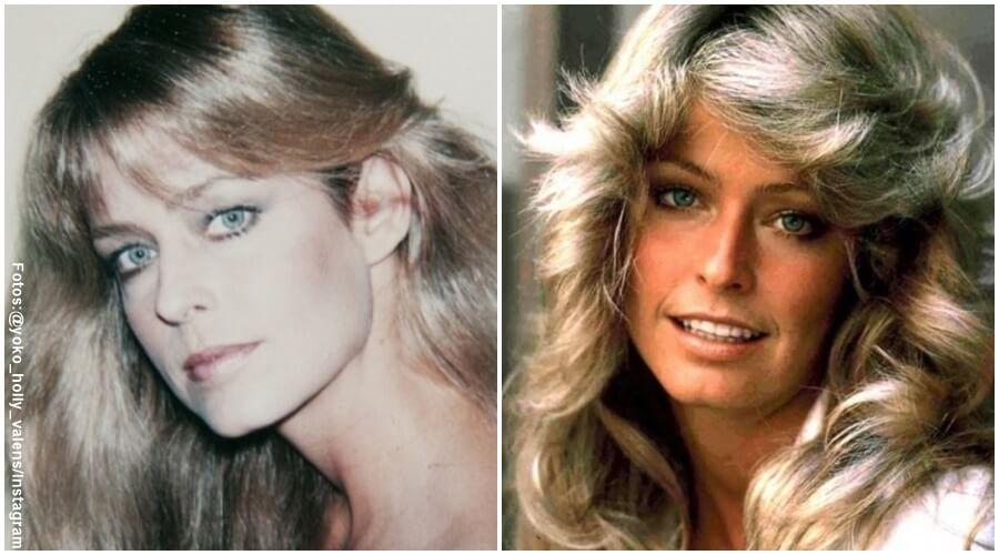 Fotos de Farra Fawcett con cabello liso y otra con cabello crespo