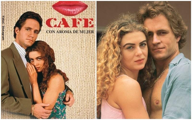 Fotografías de Margarita Rosa de Francisco y Guy Ecker en la novela Café con aroma de mujer,