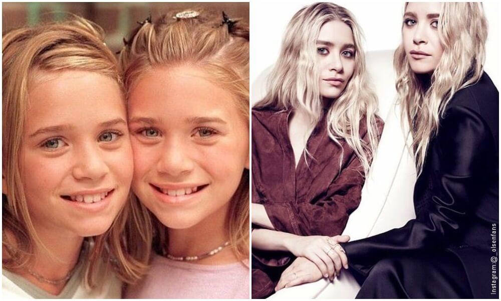 Fotos de las gemelas Olson a la izquierda cuando eran niñas y a la derecha adultas