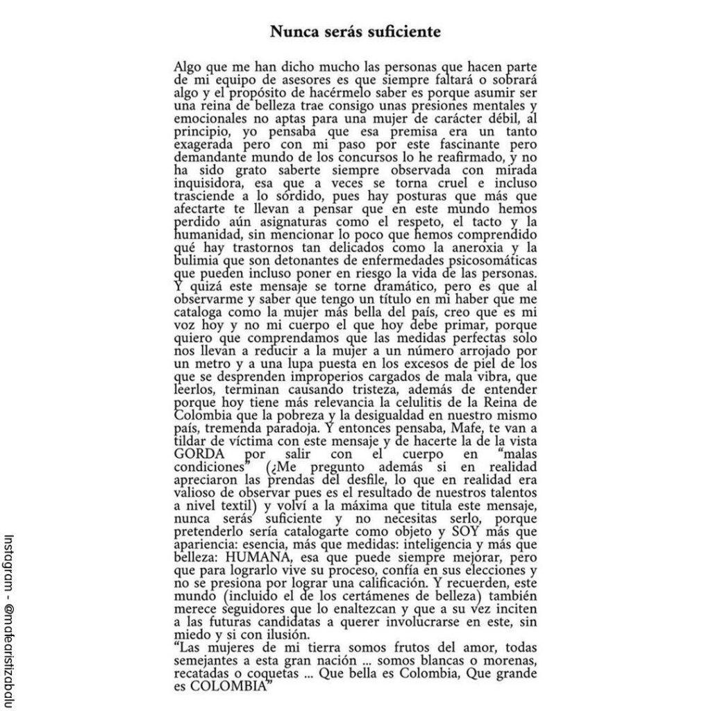 Foto de la carta publicada por la Señorita Colombia en su Instagram