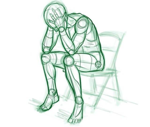 Ilustración de un hombre solo llorando