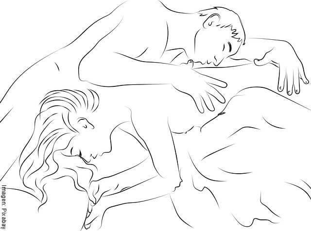 Ilustración de una pareja en la cama