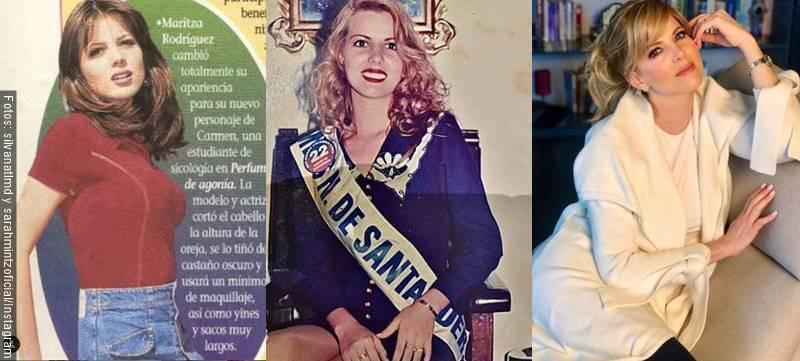 Fotos en mosaico compartativa antes y después de actriz Sarah Mintz