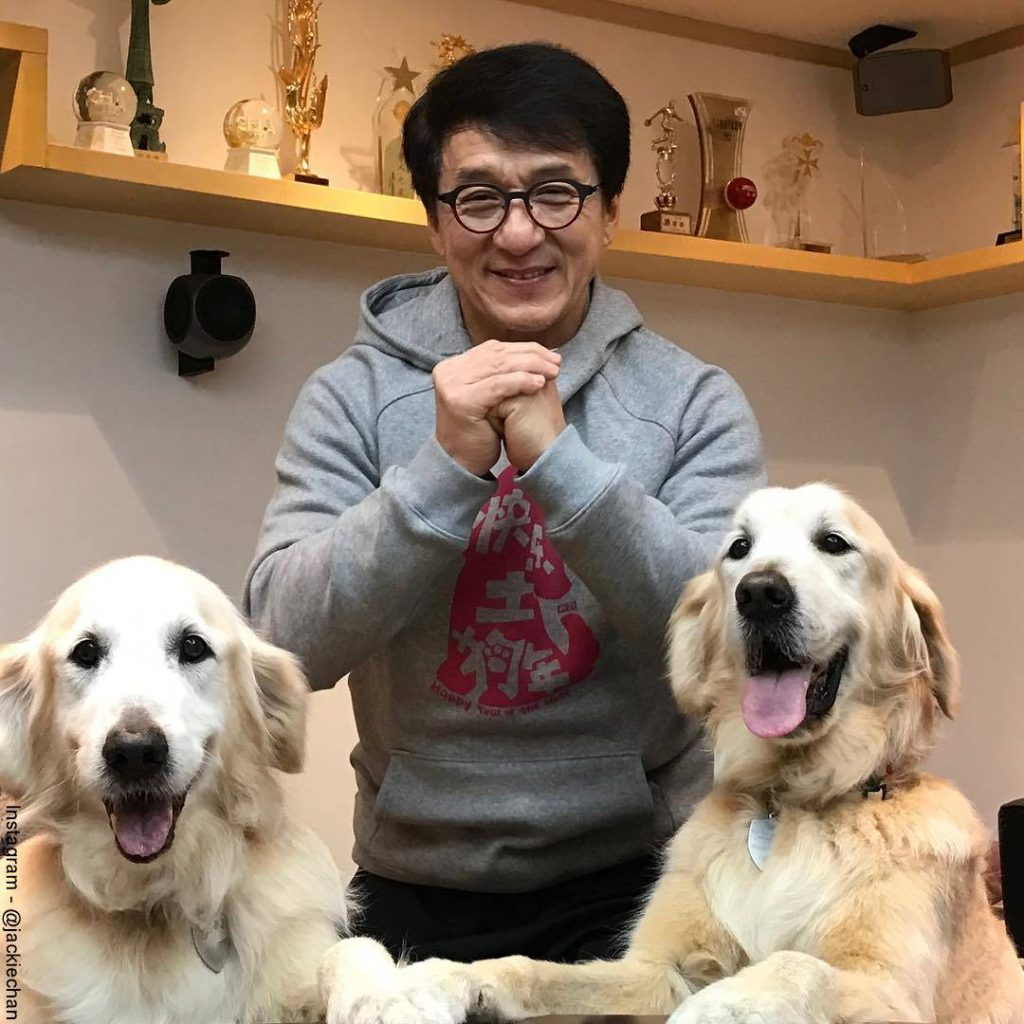 Foto de Jackie Chan en su casa con sus dos perros labradores