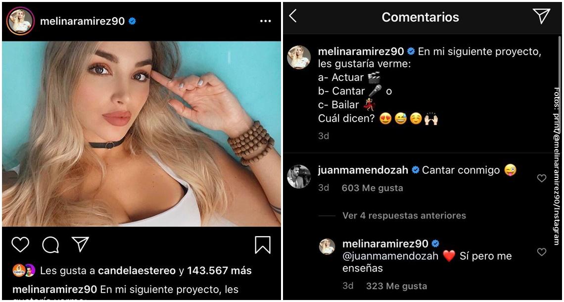 Mensajes de Juan Manuel Mendoza en la publicación de Melina Ramírez.