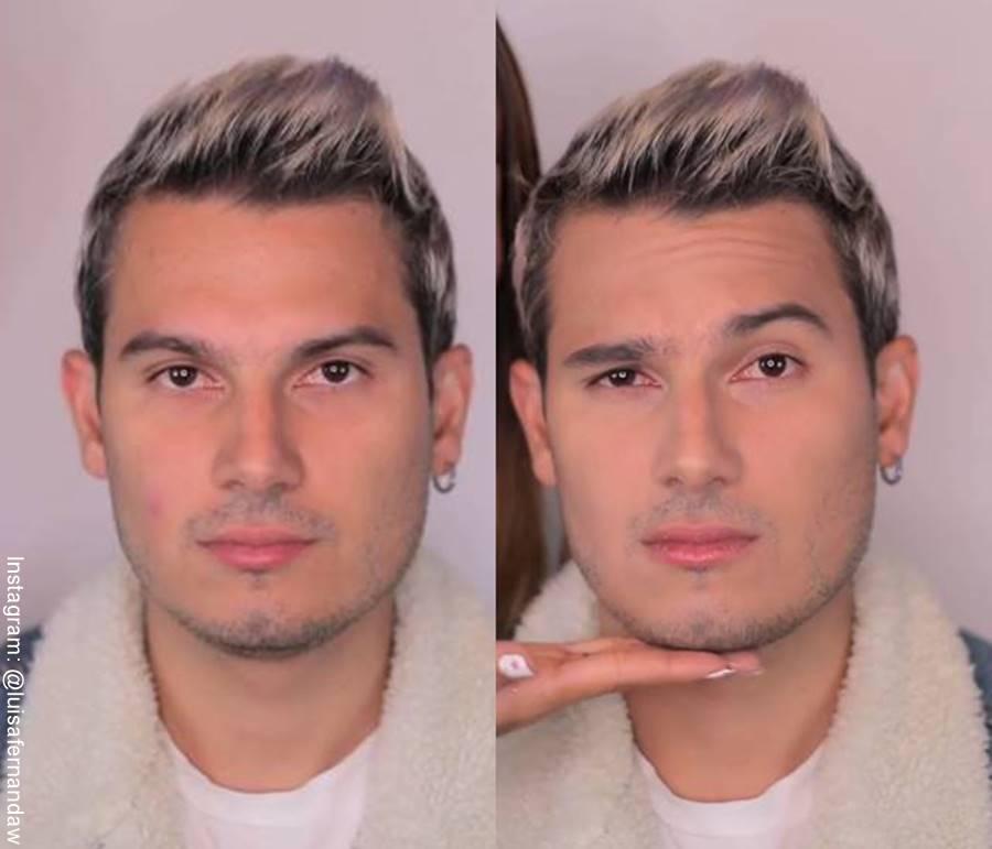 Foto de Pipe Bueno maquillado, antes y después