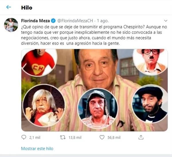Print de cuneta de Twitter de Florinda Meza