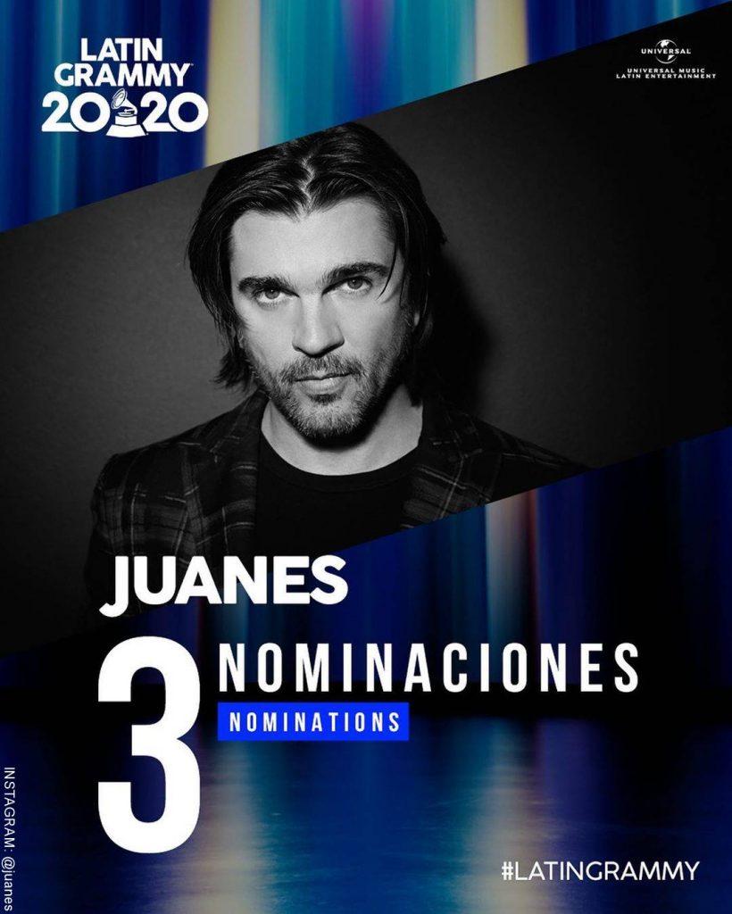 Foto de Juanes con sus nominaciones a los Latin Grammy