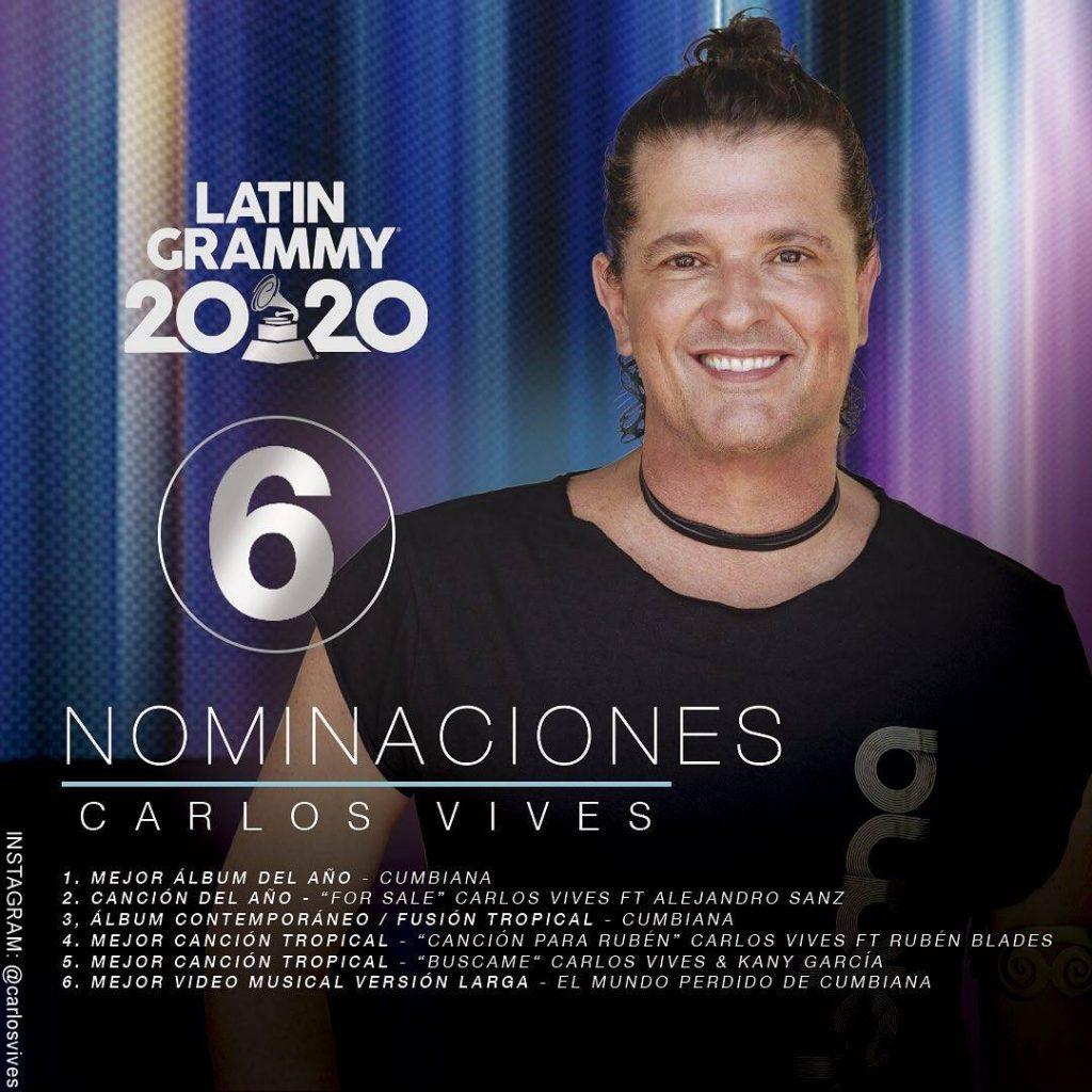 Foto de Carlos Vives con sus nominaciones