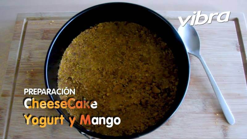 Foto de la base del cheesecake de mango