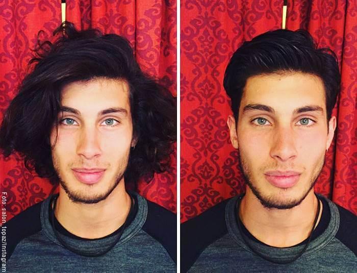 Fotos de un hombre comparando pre visita a peluquería y post