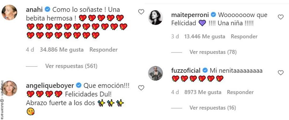 Screenshot de los comentarios de felicitación a Dulce María por la noticia de su hija