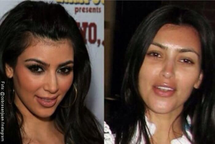 Fotos de Kim Kardashian sin maquillaje y con maquillaje