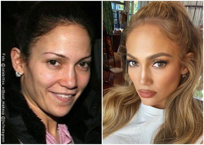 Fotos de Jlo sin maquillaje y con maquillaje