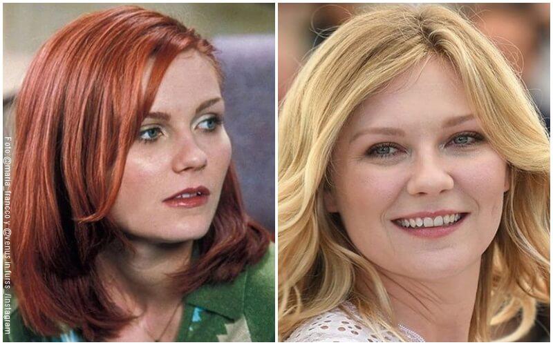 Antes y después del diseño de sonrosa de Kristen Dunst