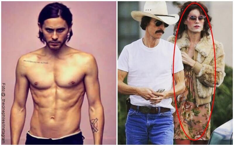 Fotos de Jared Letto a la izquierda cpn su cuerpo normal y en la derecha con su transformación para un papel en cine