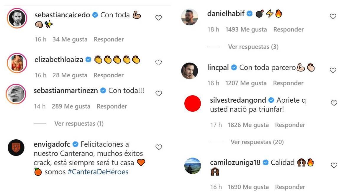 Print de los comentarios de felicitación a James Rodríguez de sus amigos