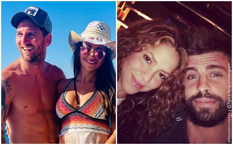 Fotos de Messi y su esposa Antonela y otra foto de Shakira y Pique