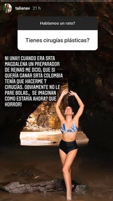 Respuesta de Taliana Vargas en la que afirma nunca haberse sometido a alguna cirugía, acompañada de una fotografía en bikini.